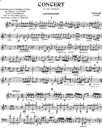 Concert en mi mineur pour Contrebasse et Piano
