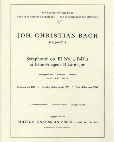 Symphonie op. 3 No. 4 B-Dur