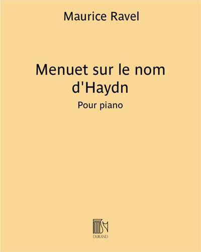 Menuet sur le nom d'Haydn - Pour piano