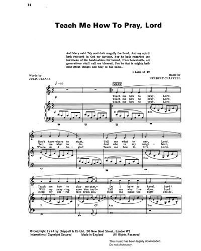 Teach Me How To Pray, Lord (from 'Carols For Today')