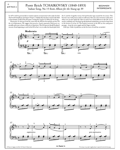 Italian Song, No.15 (from 'Album for the Young Op.39')