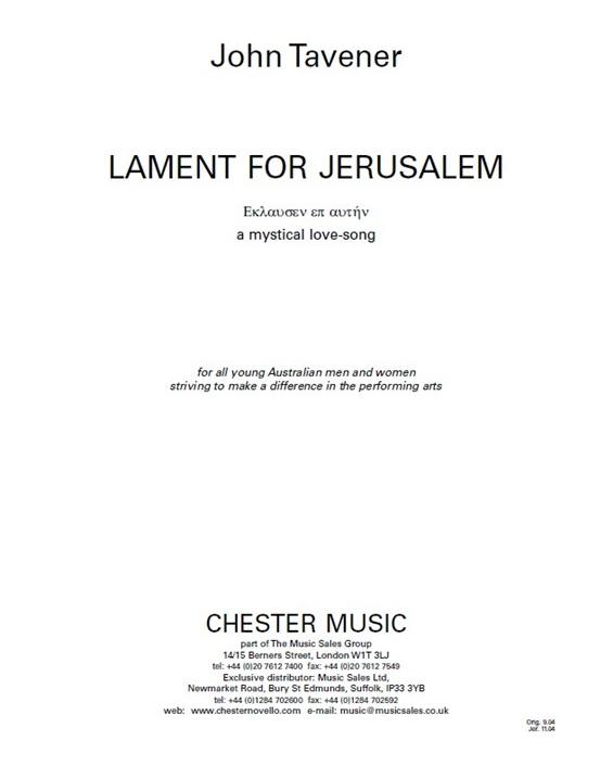 Lament for Jerusalem [Jerusalem Version]