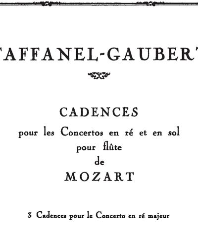 3 Cadences pour le Concerto en ré majeur