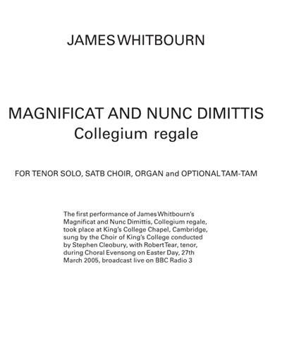 Magnificat & Nunc Dimittis (Collegium Regale)