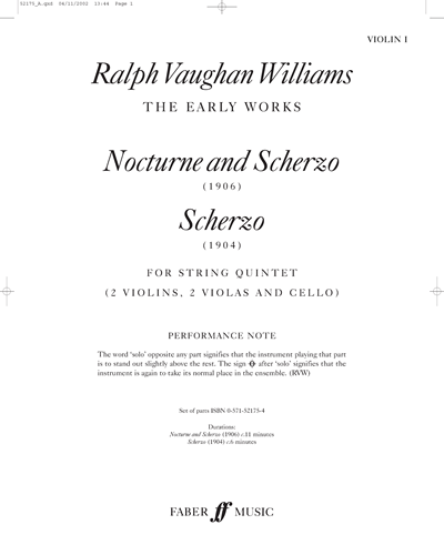Nocturne and Scherzo (1906) and Scherzo (1904)